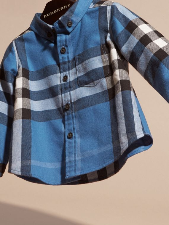 Bright steel blue Check Cotton Flannel Shirt - cell image 2