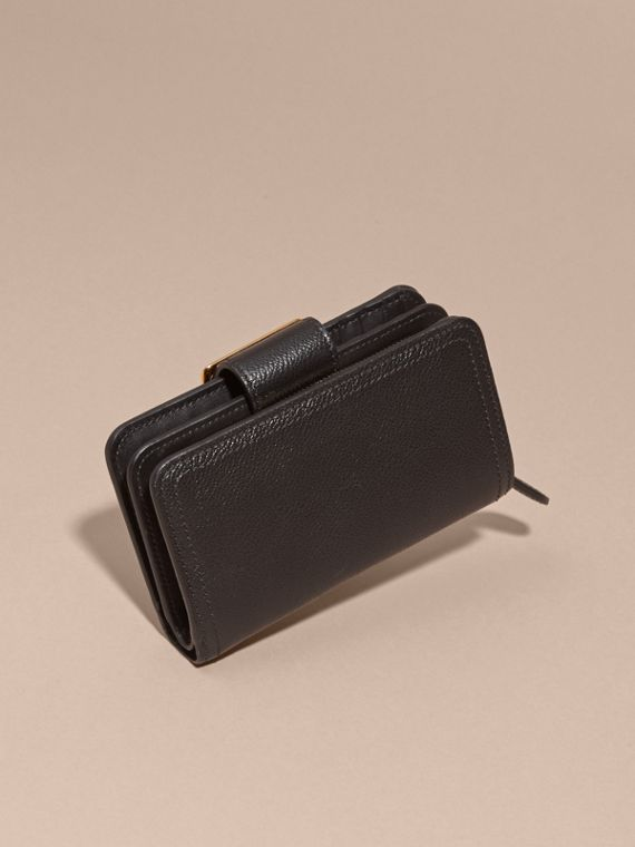 Black Buckle Detail Grainy Leather Wallet Black - cell image 3