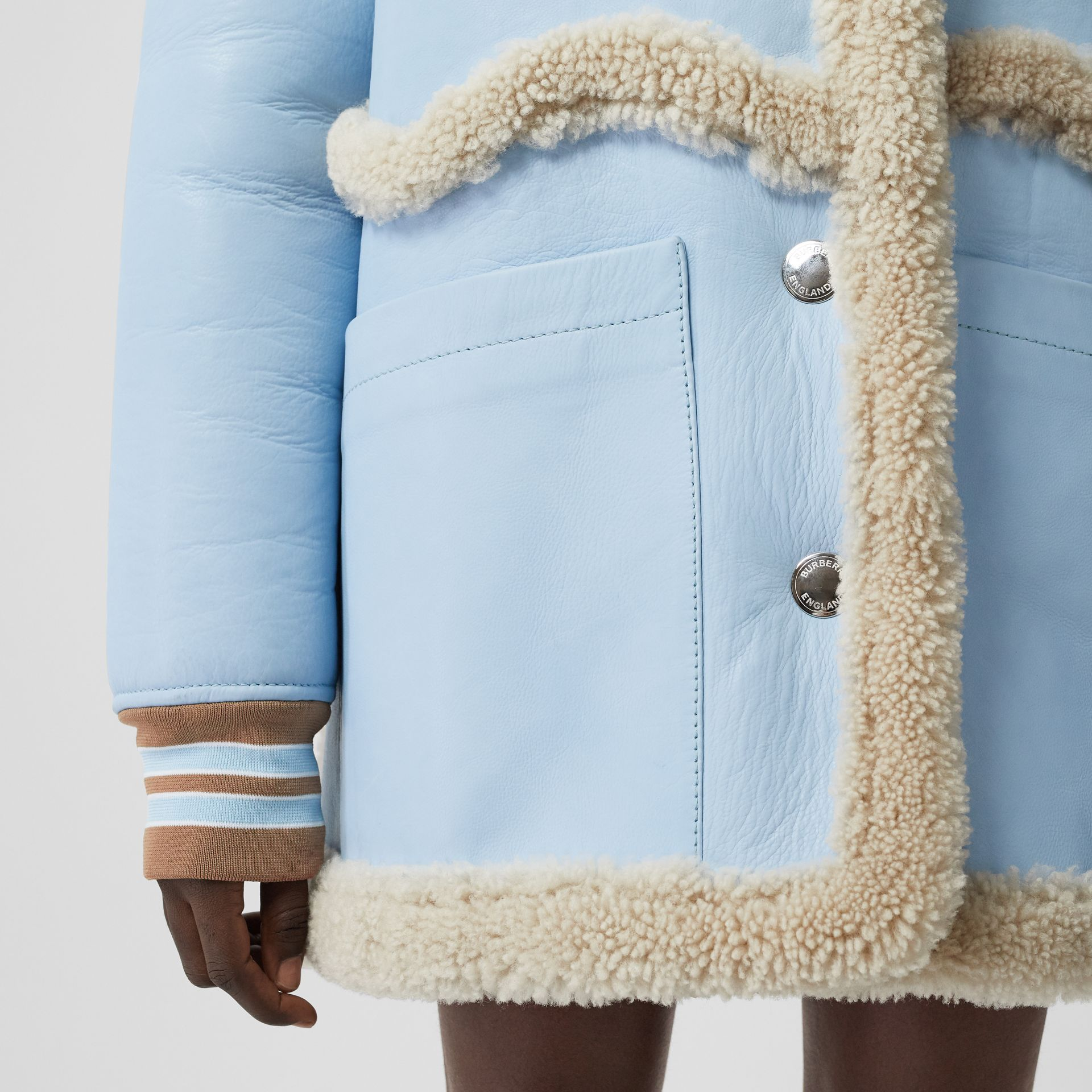 Two-tone Leather and Shearling Coat in Baby Blue - Women | Burberry - gallery image 4