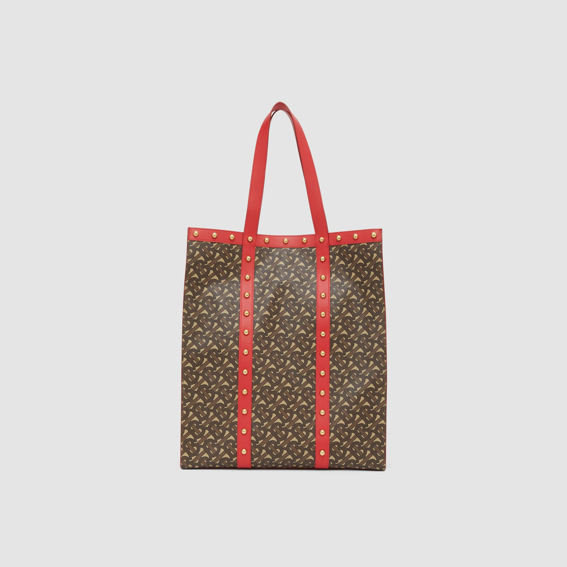 Monogram Print E-canvas Portrait Tote Bag in Bright Red - Women | Burberry - gallery image 9