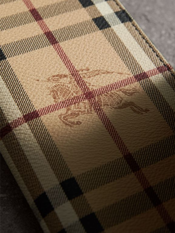 Haymarket Check and Leather Continental Wallet in Black - Men | Burberry - cell image 1