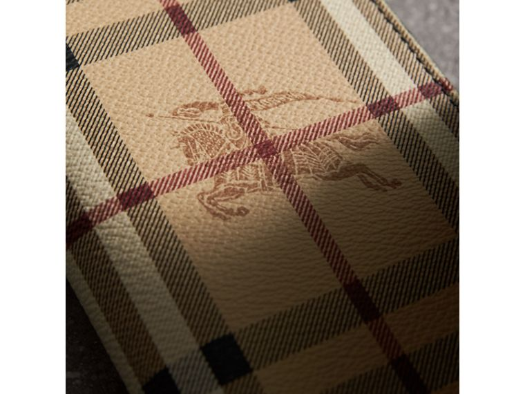 Haymarket Check and Leather Continental Wallet in Black - Men | Burberry United States - cell image 1
