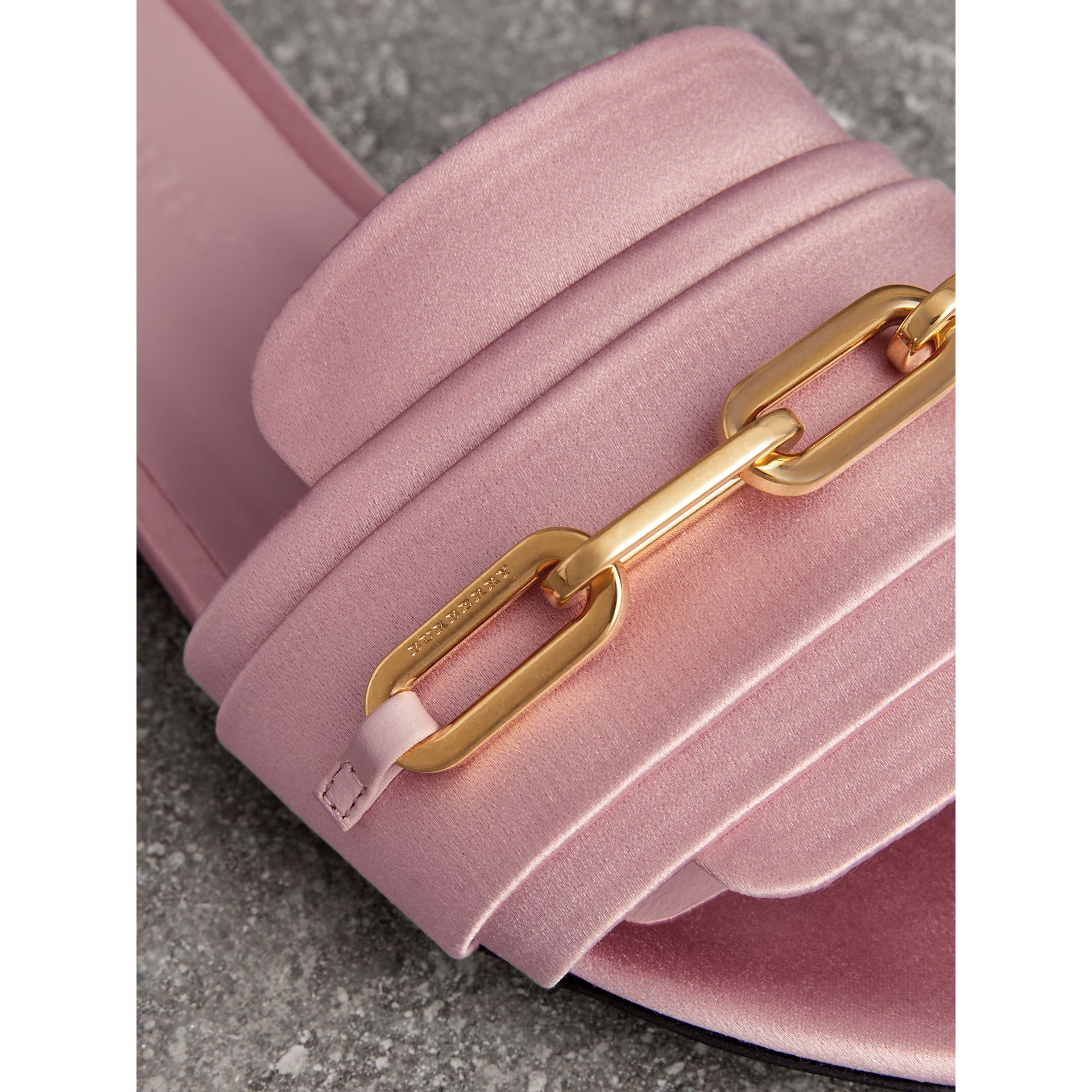 Link Detail Satin and Leather Slides in Light Pink Melange - Women | Burberry United States - gallery image 1