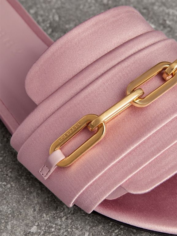 Link Detail Satin and Leather Slides in Light Pink Melange - Women | Burberry United States - cell image 1