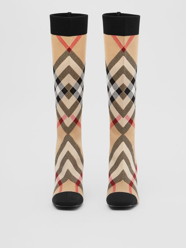 Check Stretch Knit Sock Boots in Archive Beige - Women | Burberry United Kingdom - cell image 3