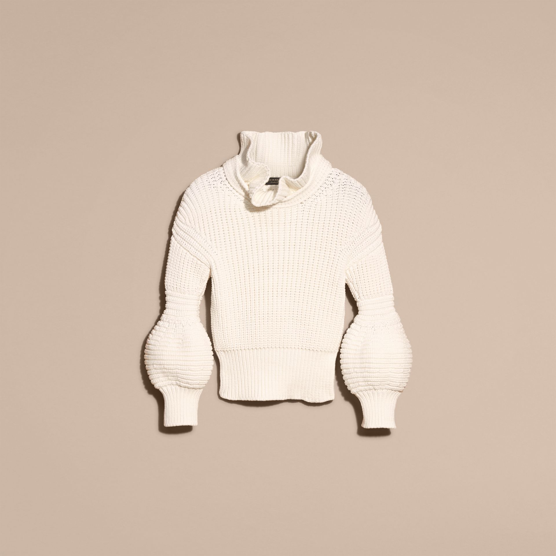 White Cotton Blend Sweater with Ruff Neck - gallery image 4