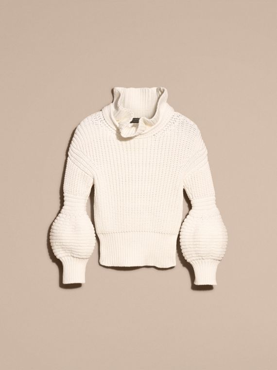 White Cotton Blend Sweater with Ruff Neck - cell image 3