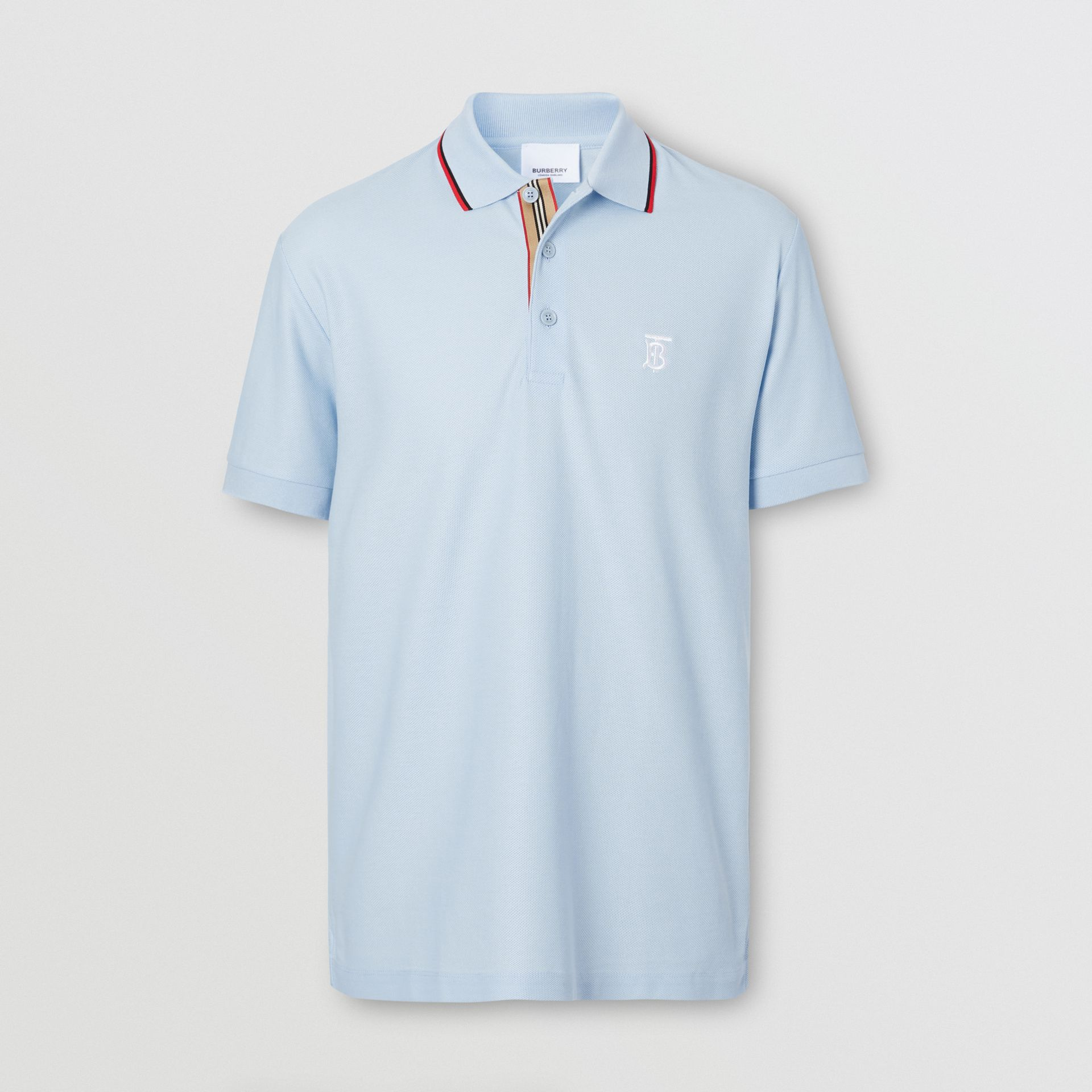 Icon Stripe Placket Cotton Piqué Polo Shirt in Pale Blue - Men | Burberry United Kingdom - gallery image 3