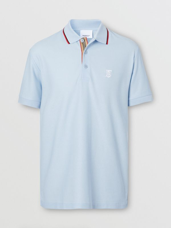 Icon Stripe Placket Cotton Piqué Polo Shirt in Pale Blue - Men | Burberry United Kingdom - cell image 3