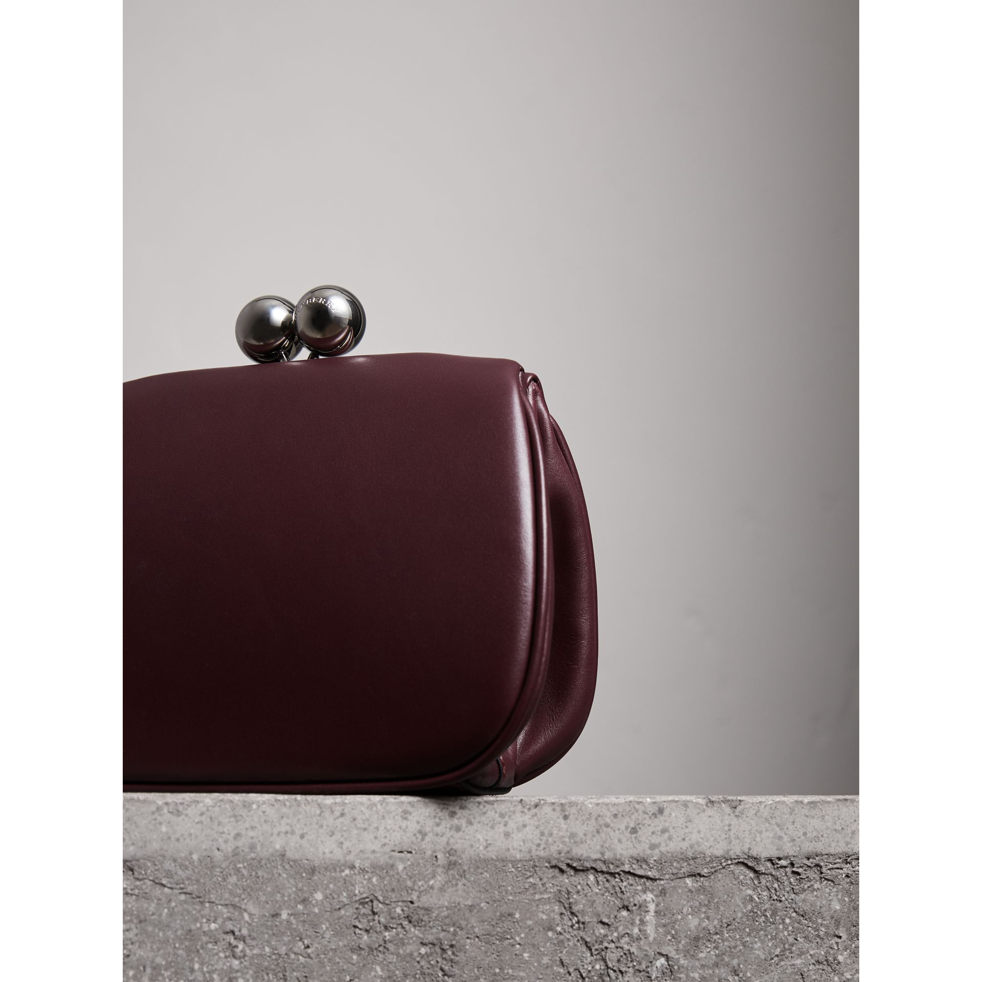 Small Leather Metal Frame Clutch Bag in Burgundy - Women | Burberry - gallery image 2