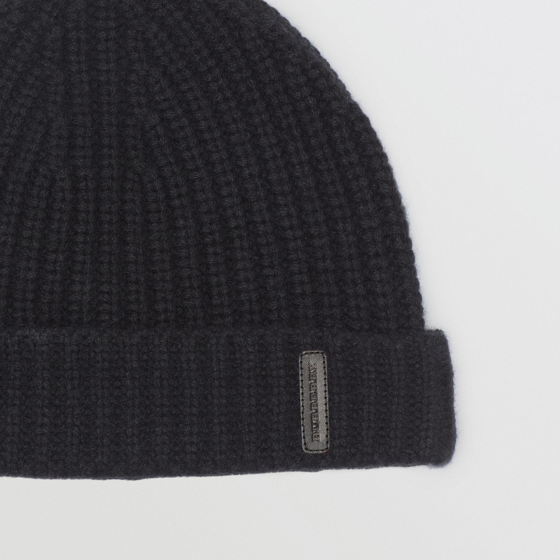 Rib Knit Cashmere Beanie in Black | Burberry - gallery image 1