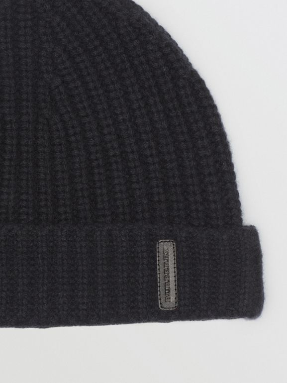 Rib Knit Cashmere Beanie in Black | Burberry Australia - cell image 1