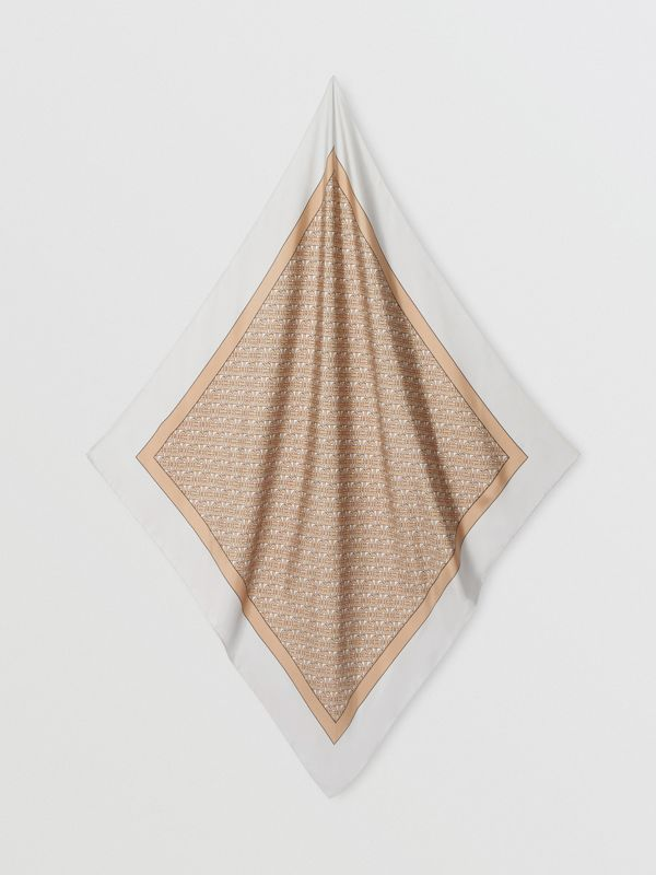 Monogram Print Silk Square Scarf in Camel | Burberry United Kingdom - cell image 3