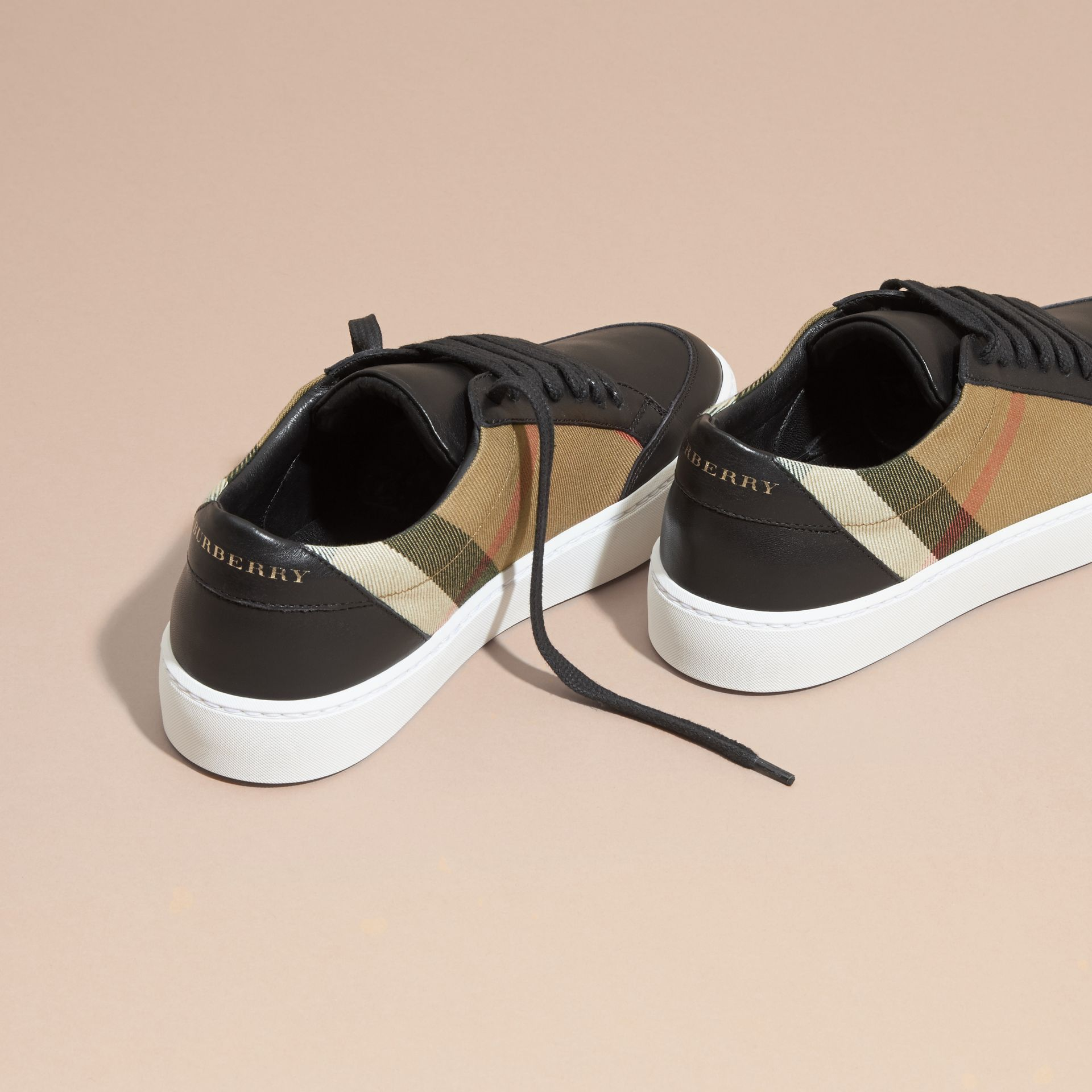 Check Detail Leather Trainers in House Check/black - Women | Burberry Canada - gallery image 4