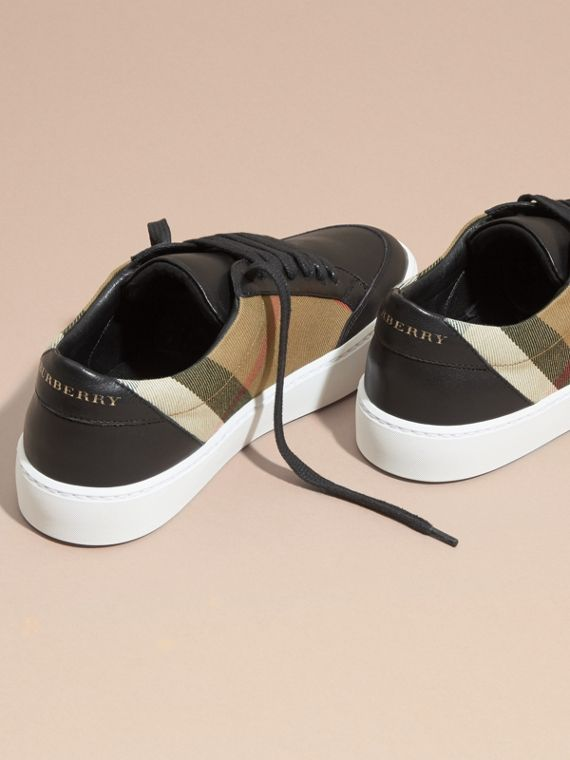 Check Detail Leather Trainers in House Check/black - Women | Burberry Canada - cell image 3