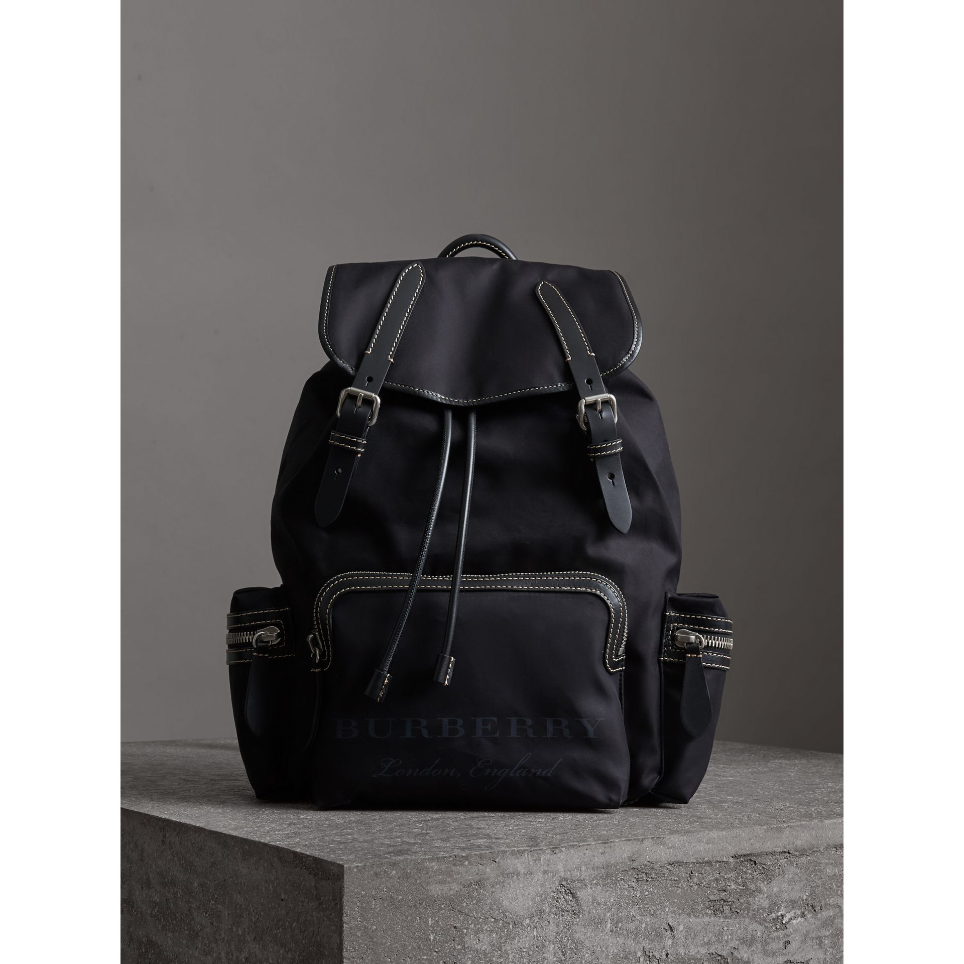 The Large Rucksack in Cotton Canvas in Black - Men | Burberry - gallery image 4