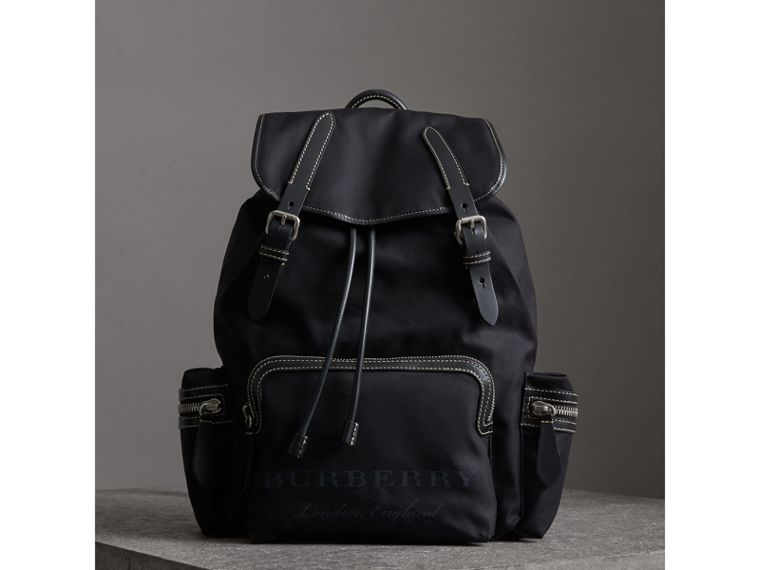 The Large Rucksack in Cotton Canvas in Black - Men | Burberry - cell image 4