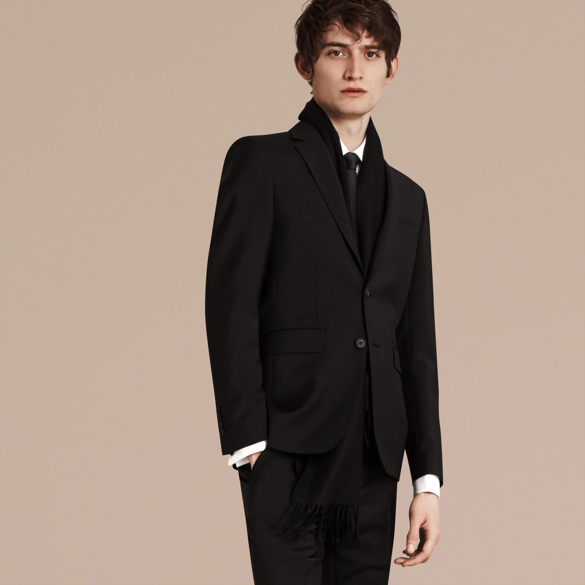 Slim Fit Wool Mohair Part-canvas Suit in Black - Men | Burberry Singapore - gallery image 7