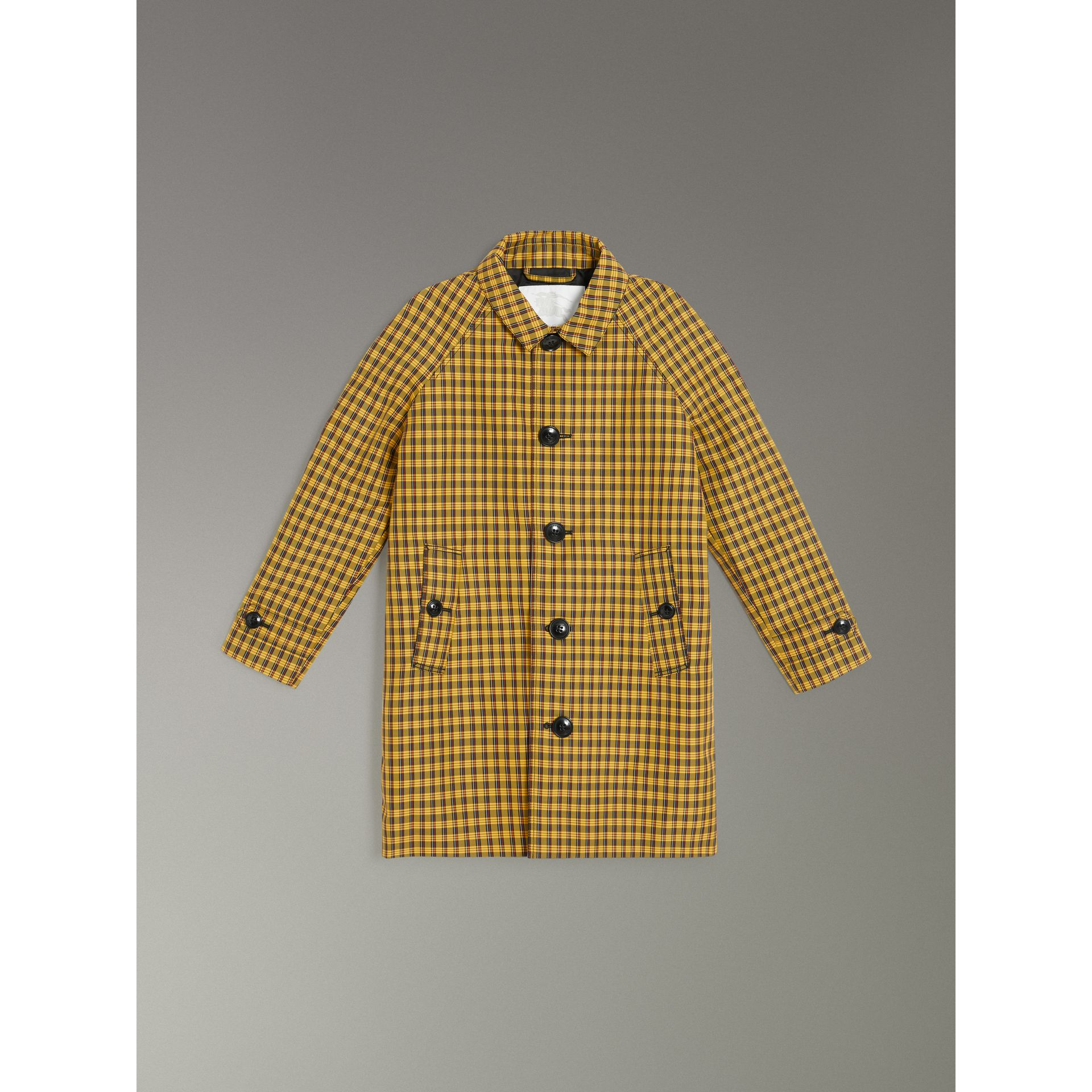 Shrunken Check Cotton Blend Car Coat in Bright Saffron Yellow | Burberry Canada - gallery image 0