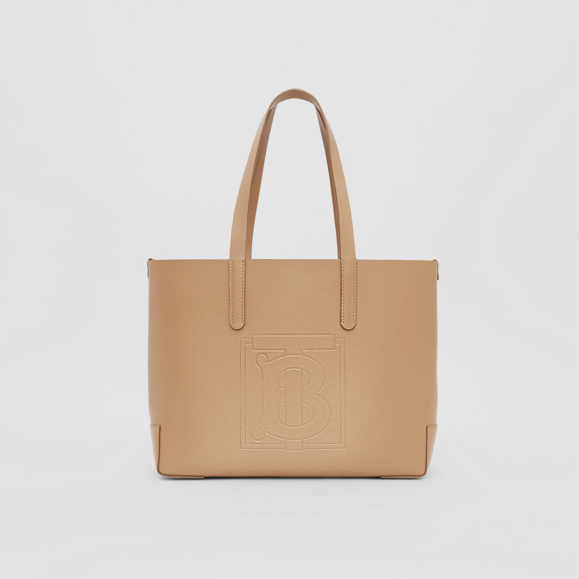 Embossed Monogram Motif Leather Tote in Camel - Women | Burberry - gallery image 0