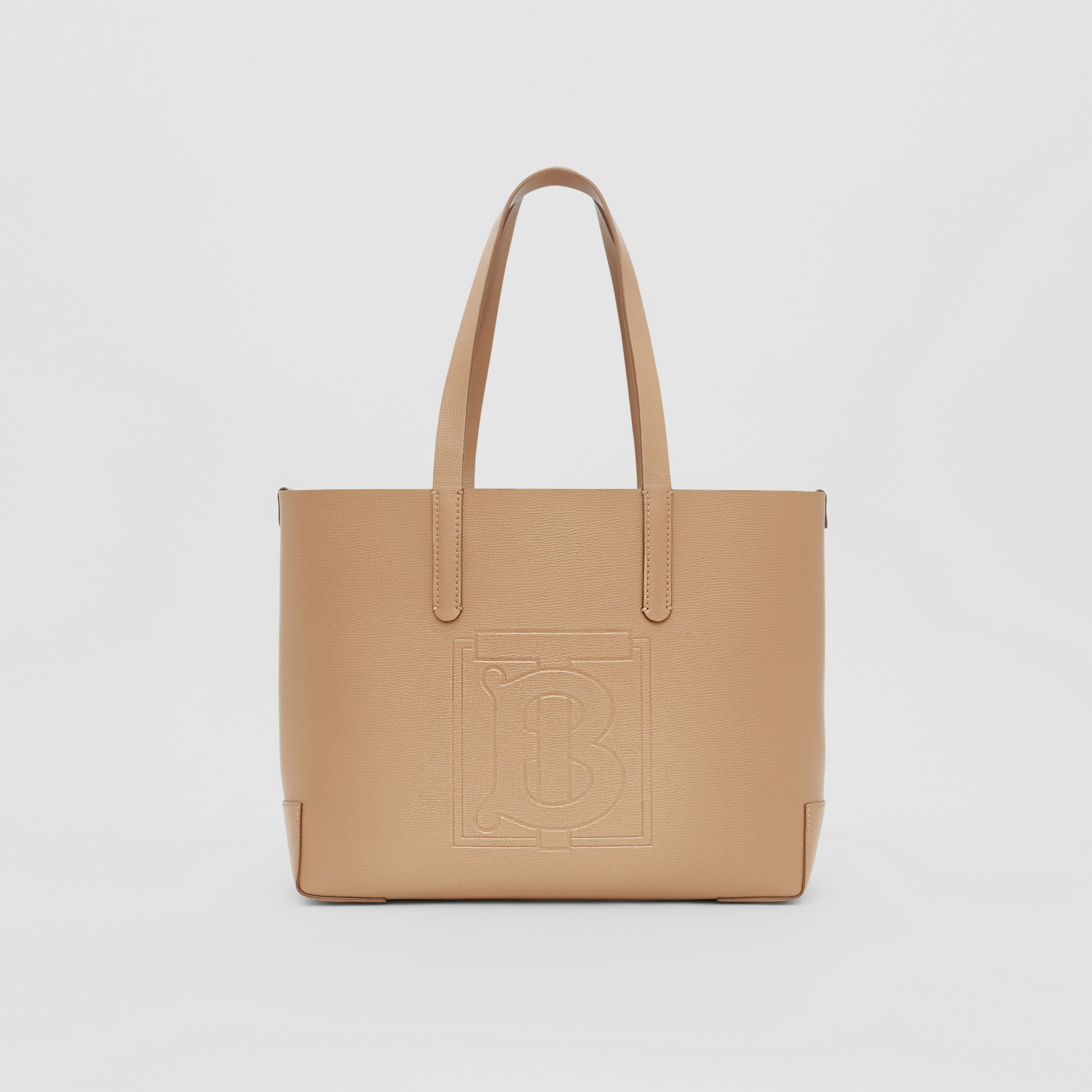 Embossed Monogram Motif Leather Tote in Camel - Women | Burberry - 1