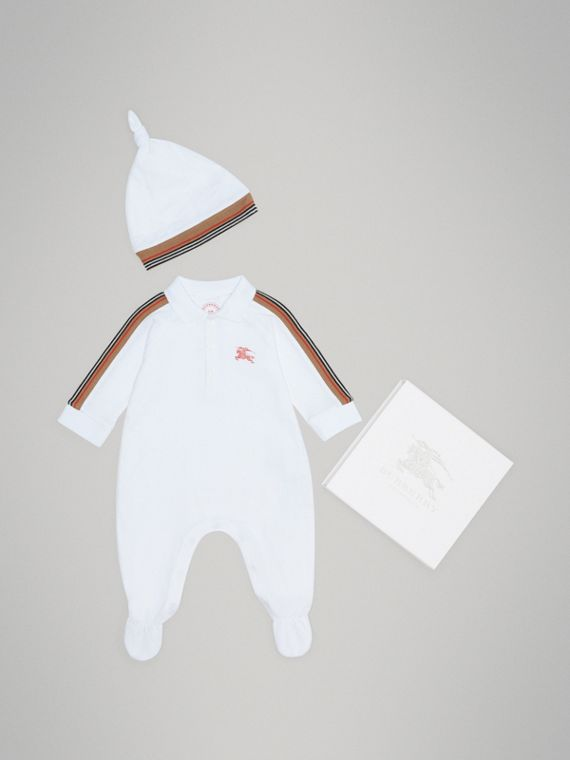 Heritage Stripe Two-piece Baby Gift Set in White