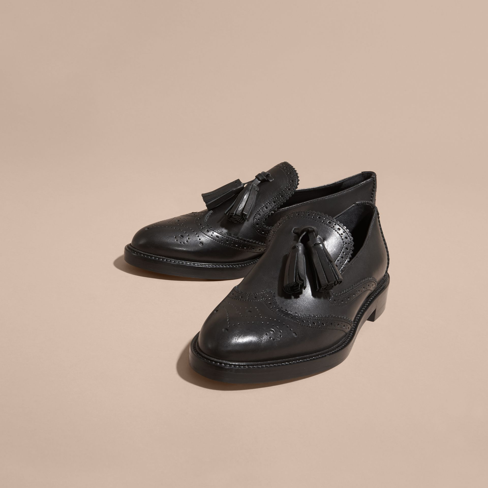 Leather Tassel Loafers in Black - Women | Burberry - gallery image 3