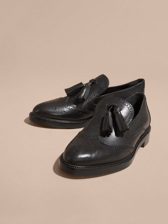 Black Leather Tassel Loafers Black - cell image 2