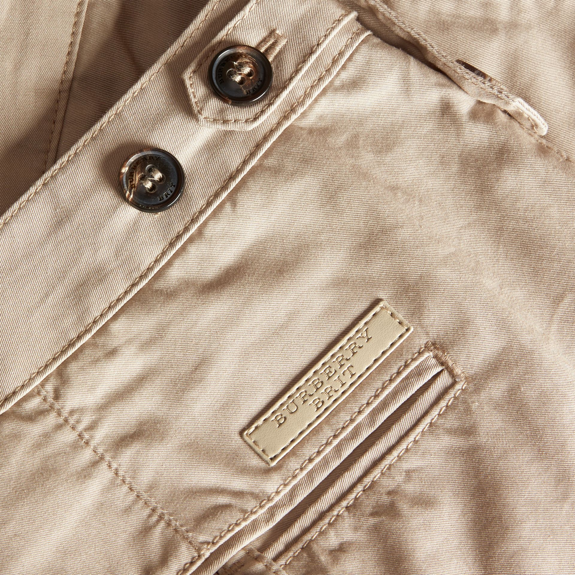 Straight Fit Cotton Chinos in Taupe - Men | Burberry - gallery image 2