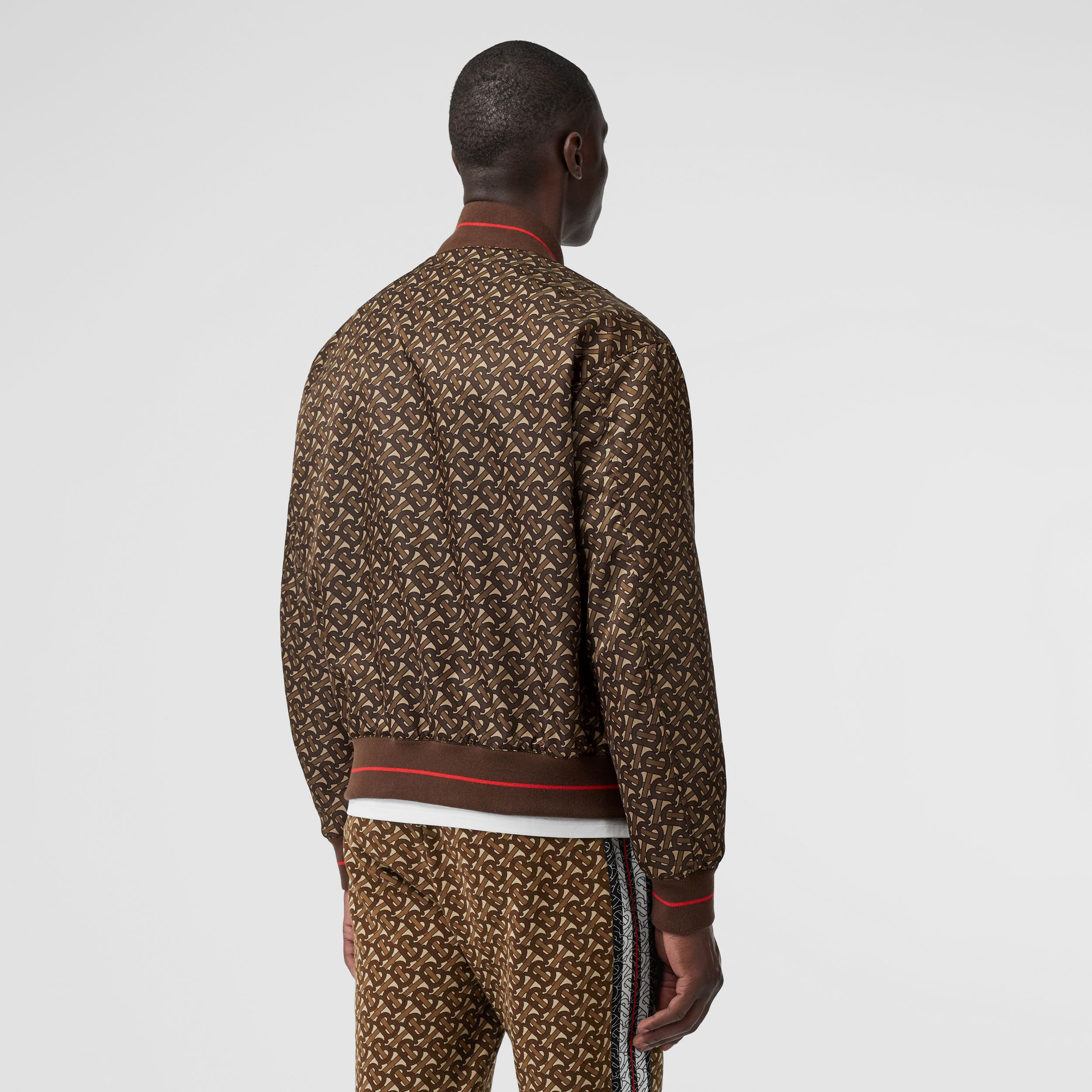 Monogram Stripe Print Nylon Bomber Jacket in Bridle Brown - Men | Burberry - 3