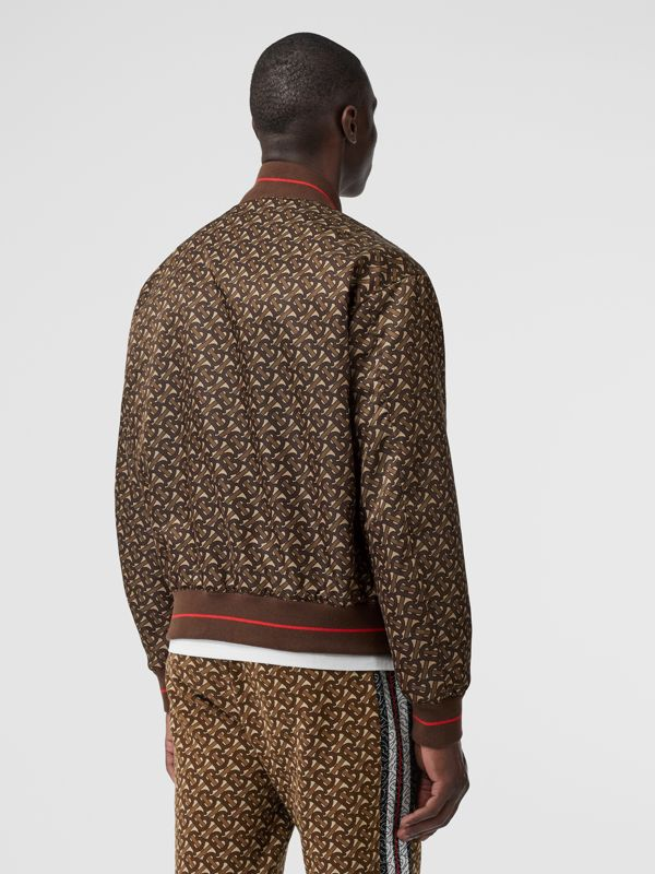 Monogram Stripe Print Nylon Bomber Jacket in Bridle Brown - Men | Burberry - cell image 2