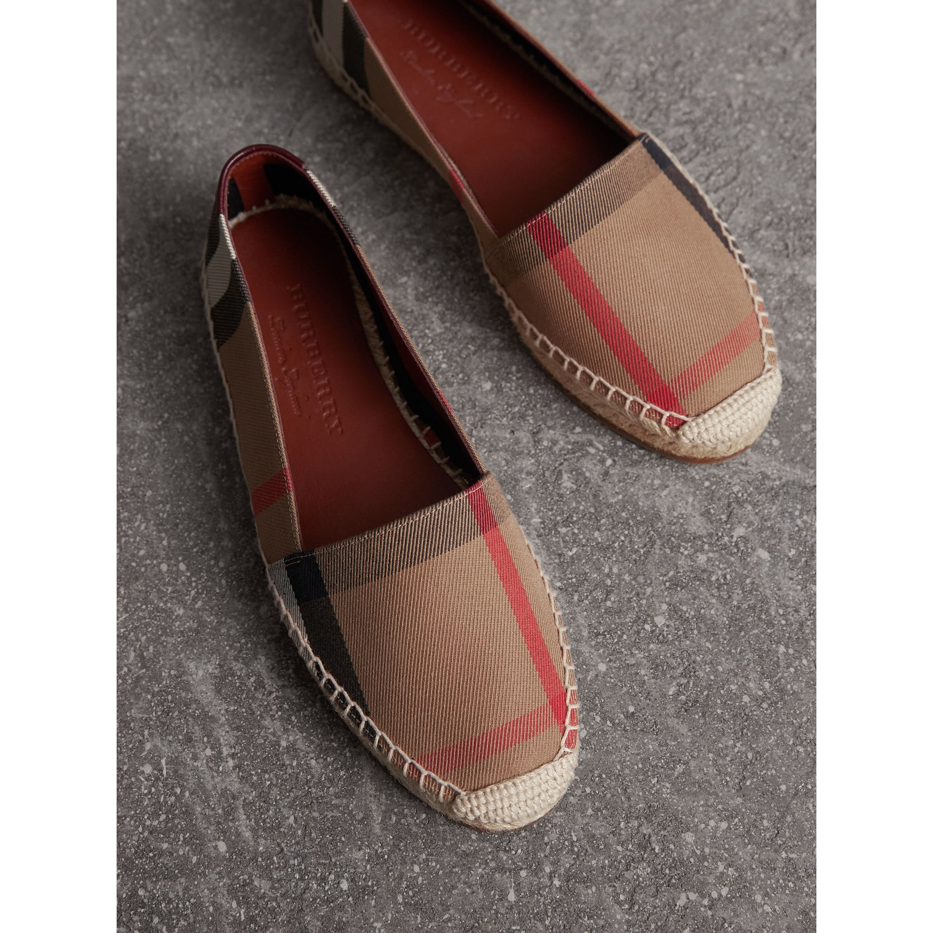 Check Linen Cotton Espadrilles in Dark Tan - Women | Burberry Canada - gallery image 3
