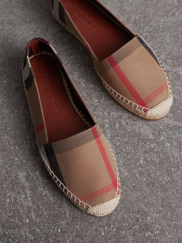Check Linen Cotton Espadrilles in Dark Tan - Women | Burberry - cell image 3