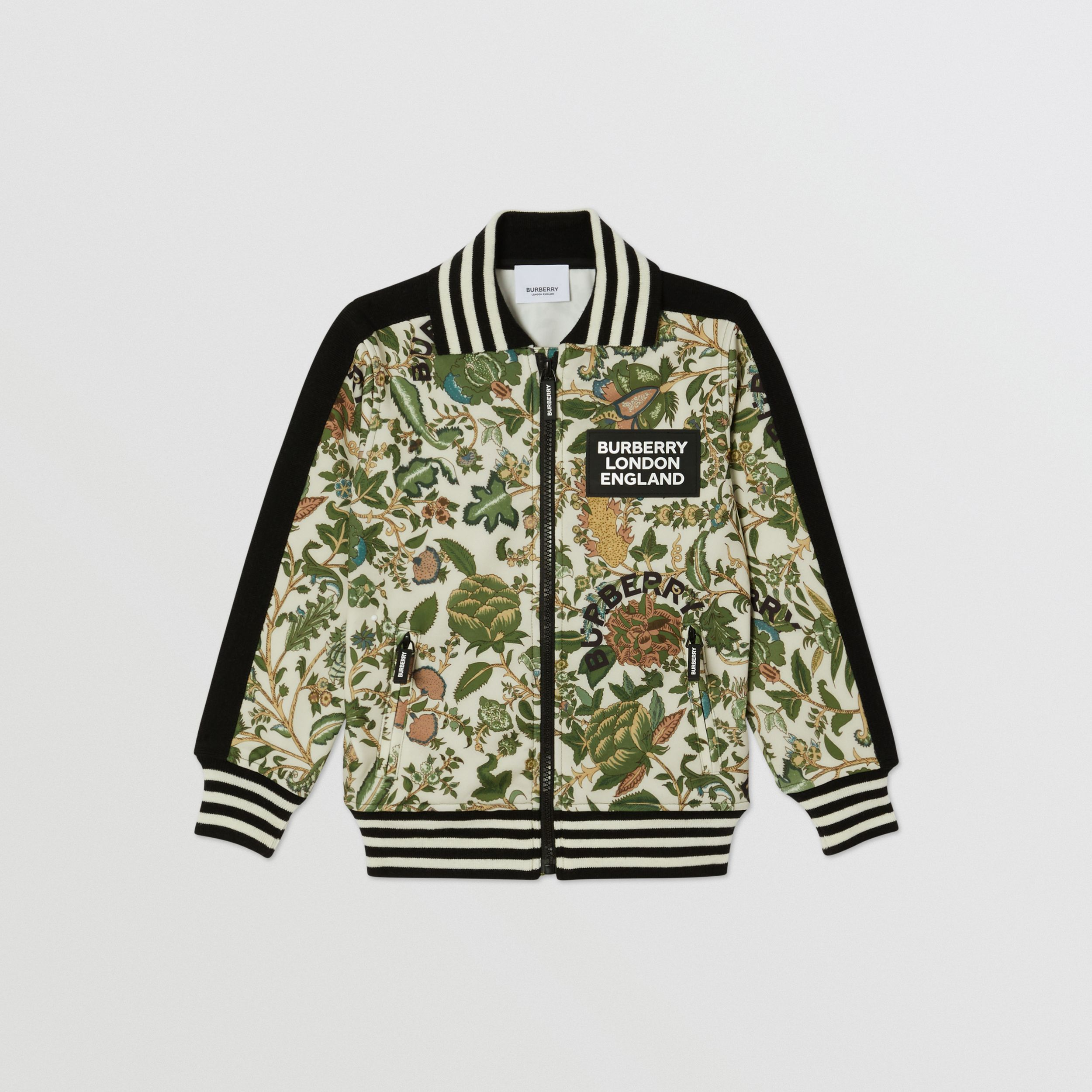 Botanical Print Neoprene Bomber Jacket in Olive | Burberry - 1