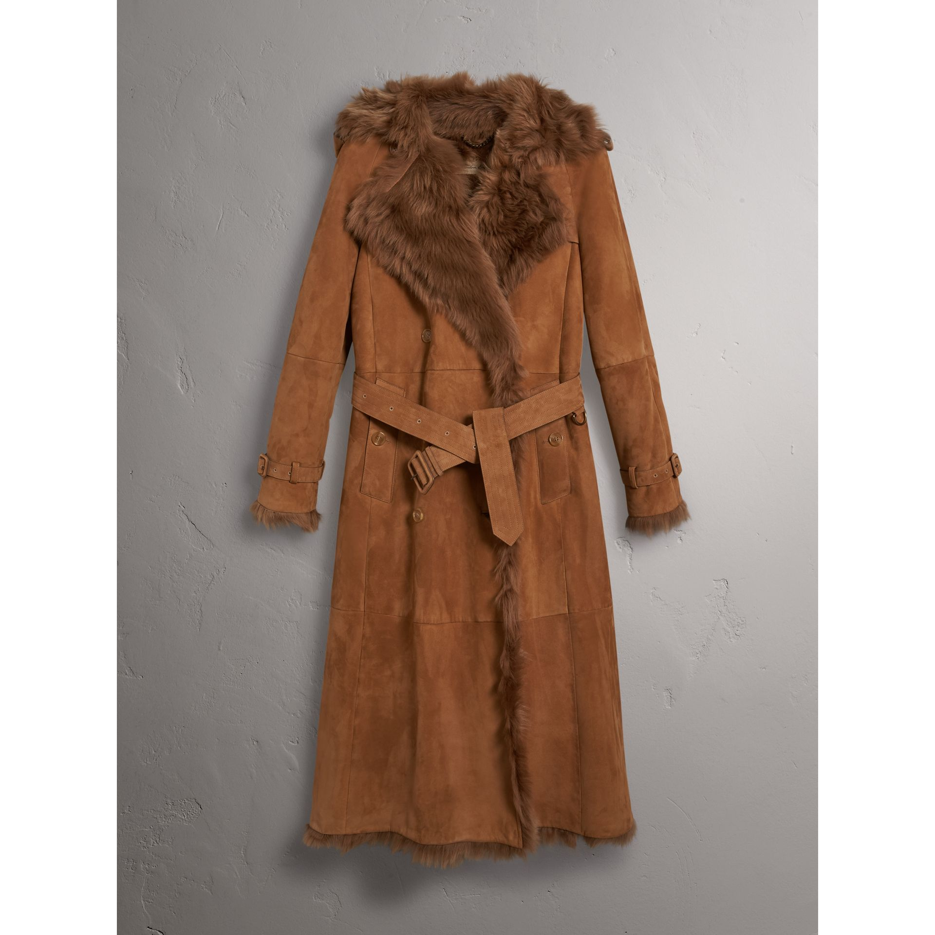 Shearling Trench Coat in Dark Camel - Women | Burberry - gallery image 4