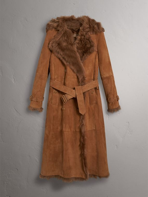 Shearling Trench Coat in Dark Camel - Women | Burberry - cell image 3