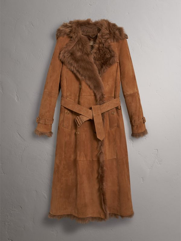 Shearling Trench Coat in Dark Camel - Women | Burberry Canada - cell image 3