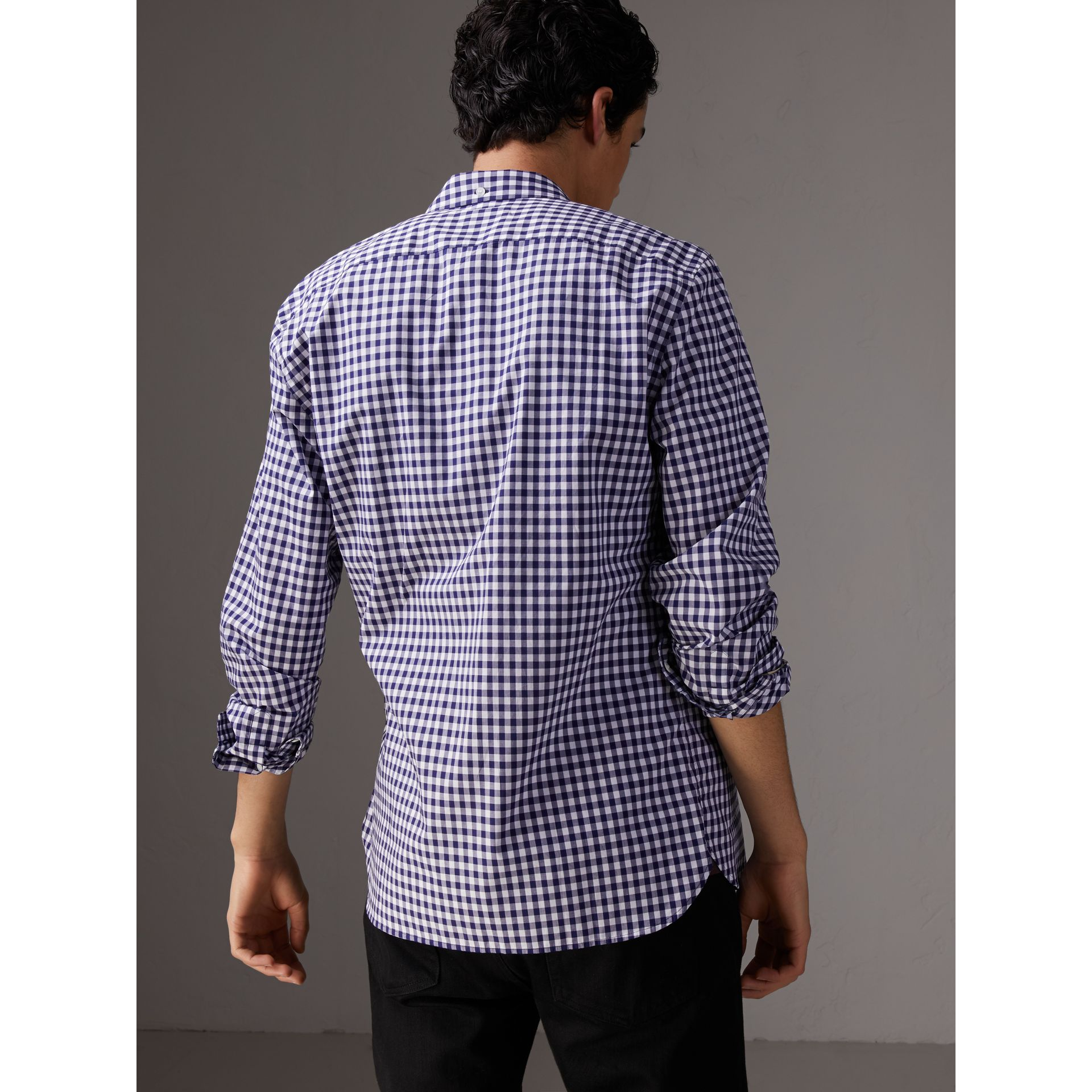 Button-down Collar Gingham Cotton Shirt in Navy - Men | Burberry Canada - gallery image 3
