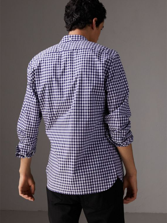 Button-down Collar Gingham Cotton Shirt in Navy - Men | Burberry United Kingdom - cell image 2
