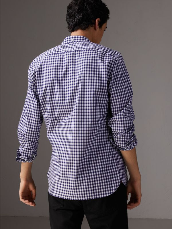 Button-down Collar Gingham Cotton Shirt in Navy - Men | Burberry - cell image 2