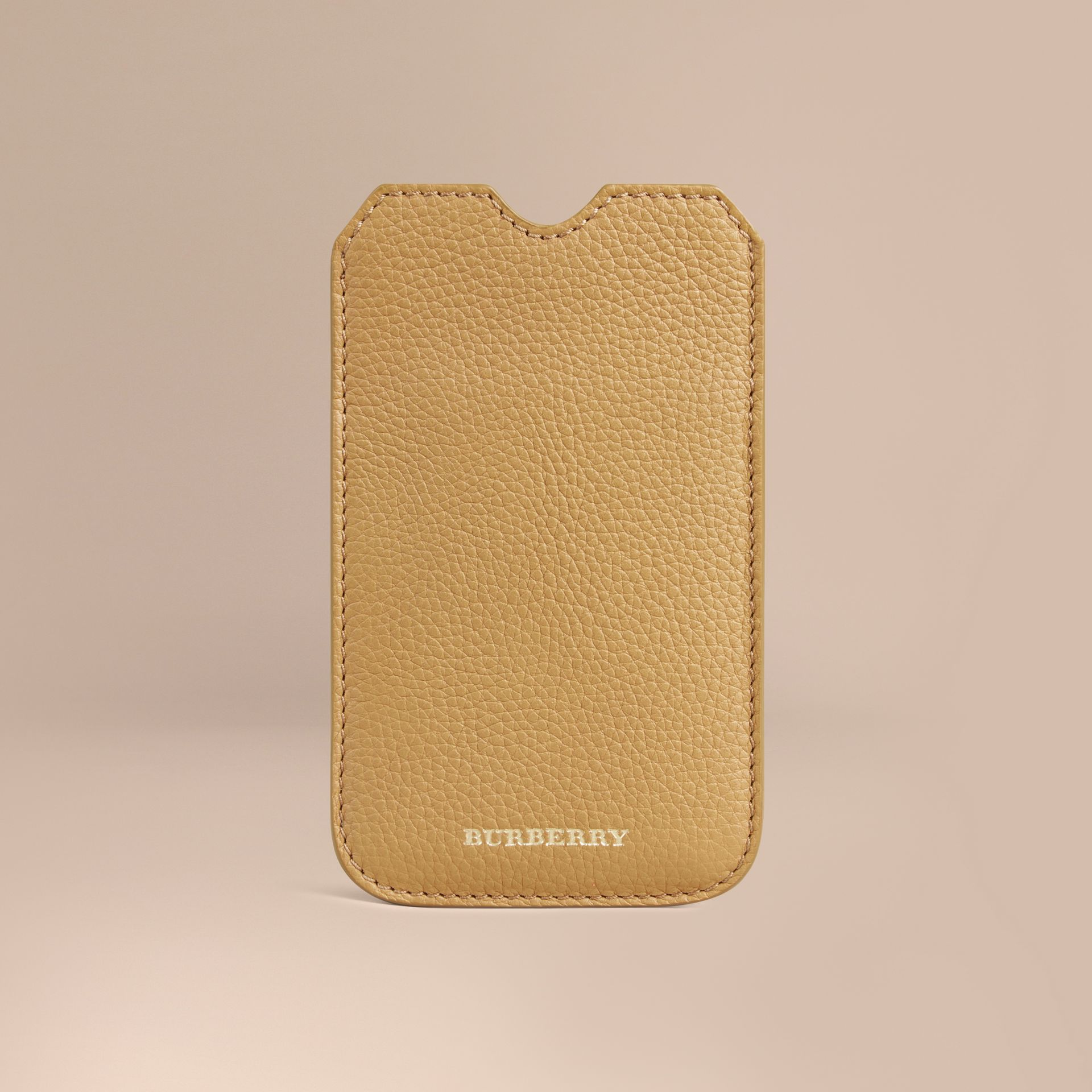 Grainy Leather iPhone 5/5S Case in Ochre Yellow | Burberry Singapore - gallery image 1