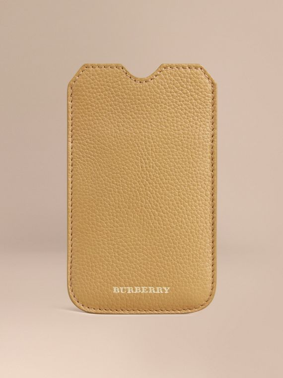 Grainy Leather iPhone 5/5S Case in Ochre Yellow | Burberry Australia