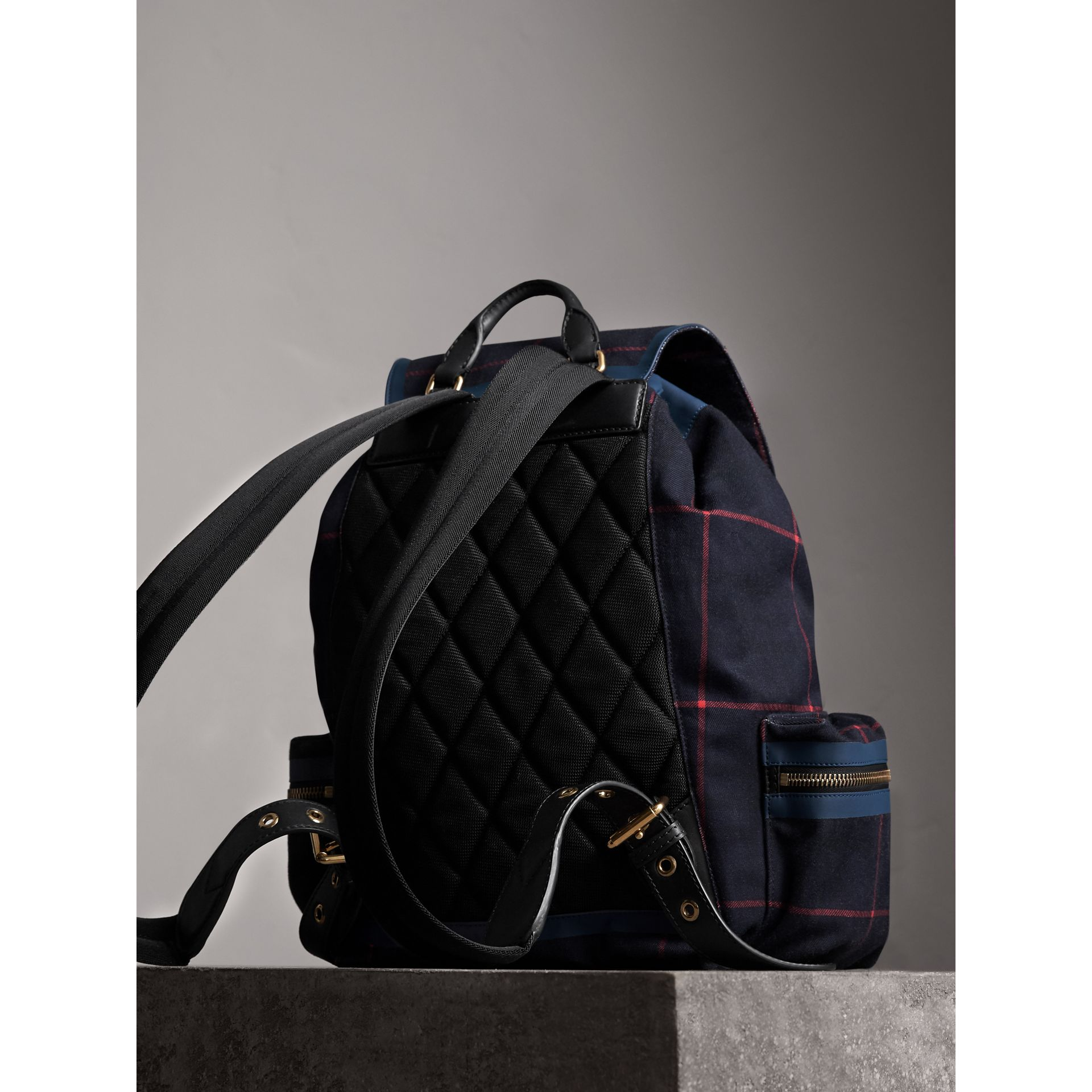 The Large Rucksack in Tartan Cotton in Deep Navy | Burberry - gallery image 4