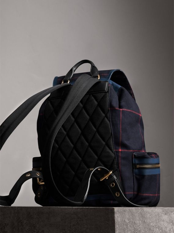The Large Rucksack in Tartan Cotton in Deep Navy | Burberry - cell image 3