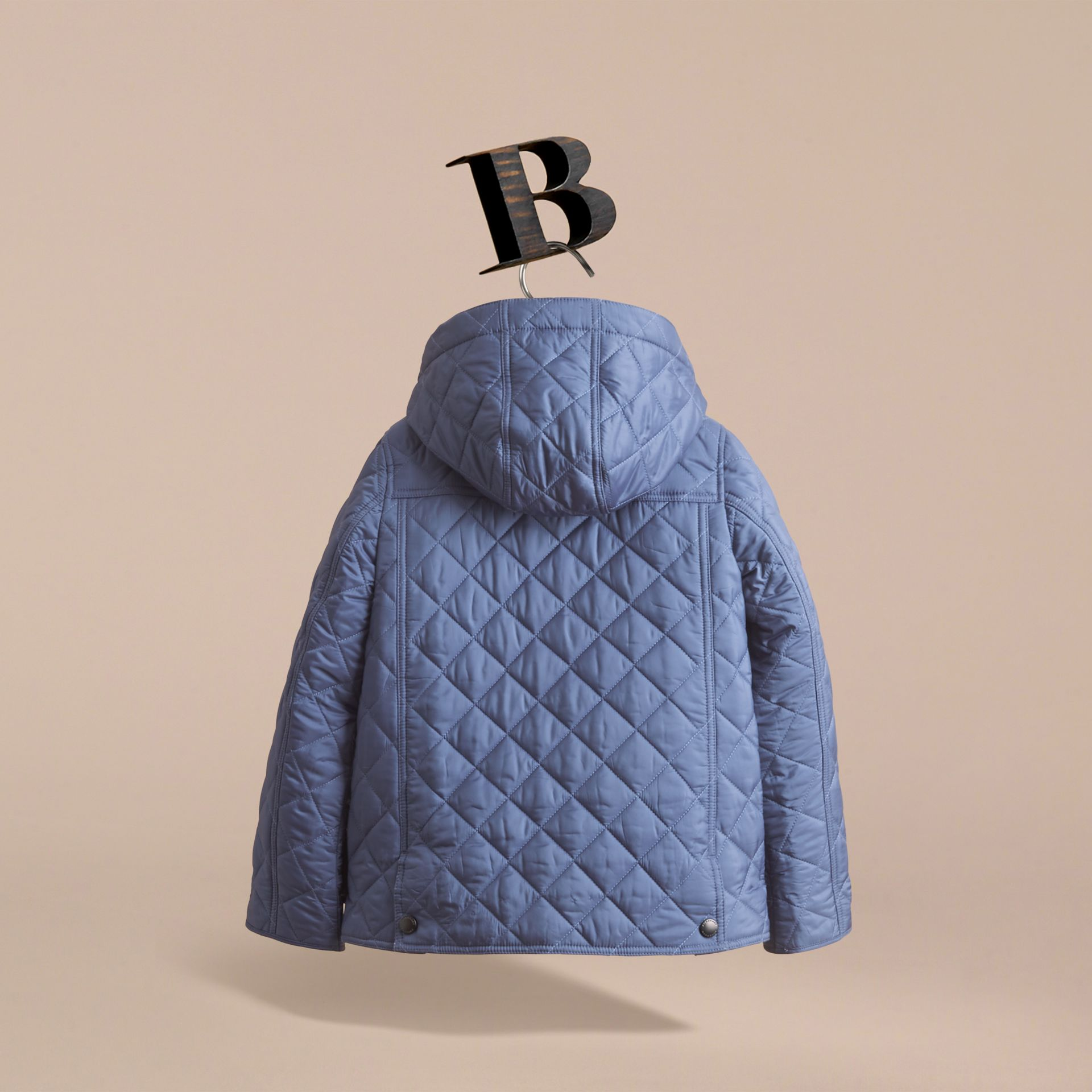 Detachable Hood Lightweight Quilted Jacket in Mineral Blue - Boy | Burberry - gallery image 4