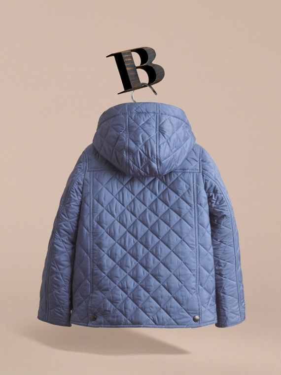 Detachable Hood Lightweight Quilted Jacket in Mineral Blue - Boy | Burberry - cell image 3