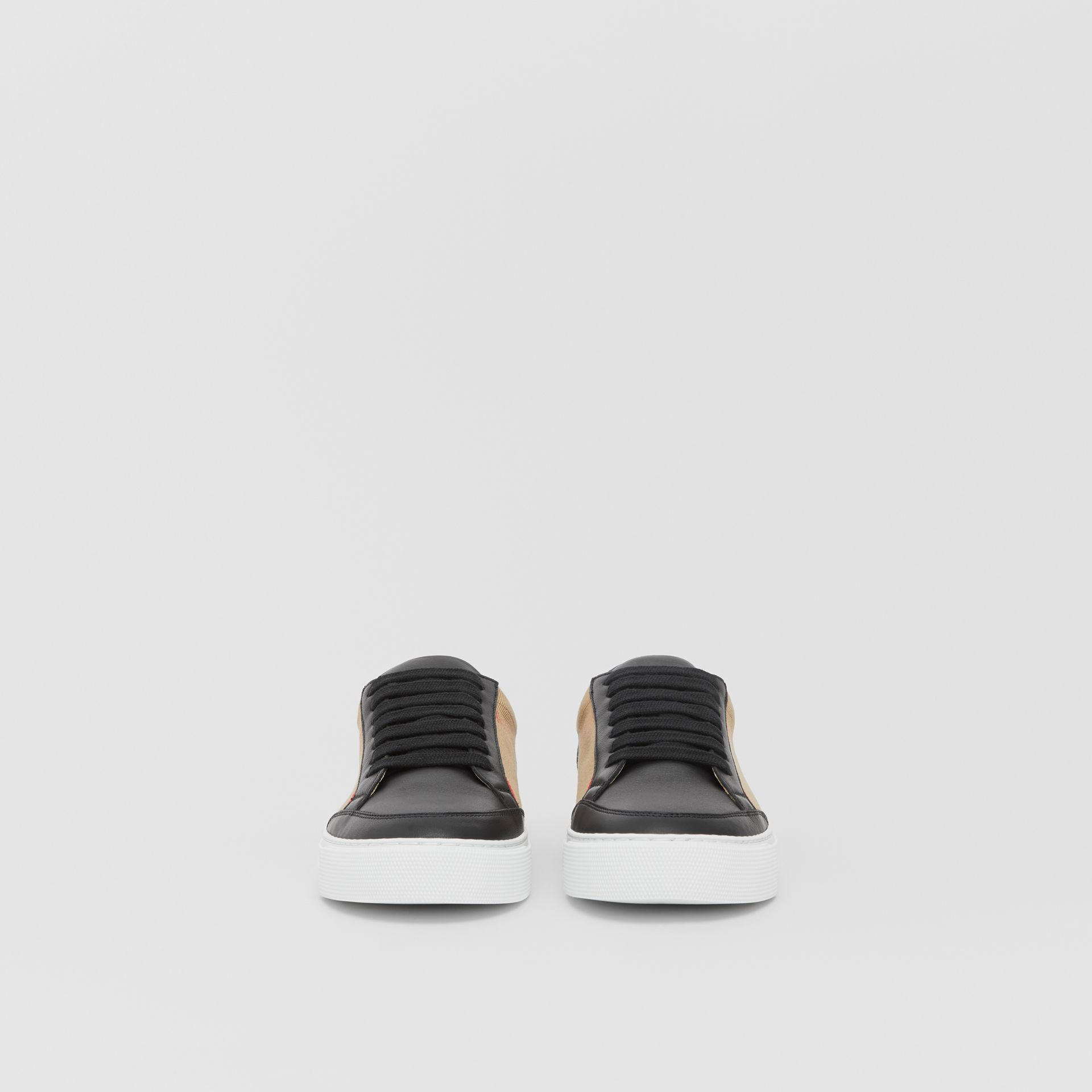 House Check and Leather Sneakers in Black - Women | Burberry United Kingdom - gallery image 3