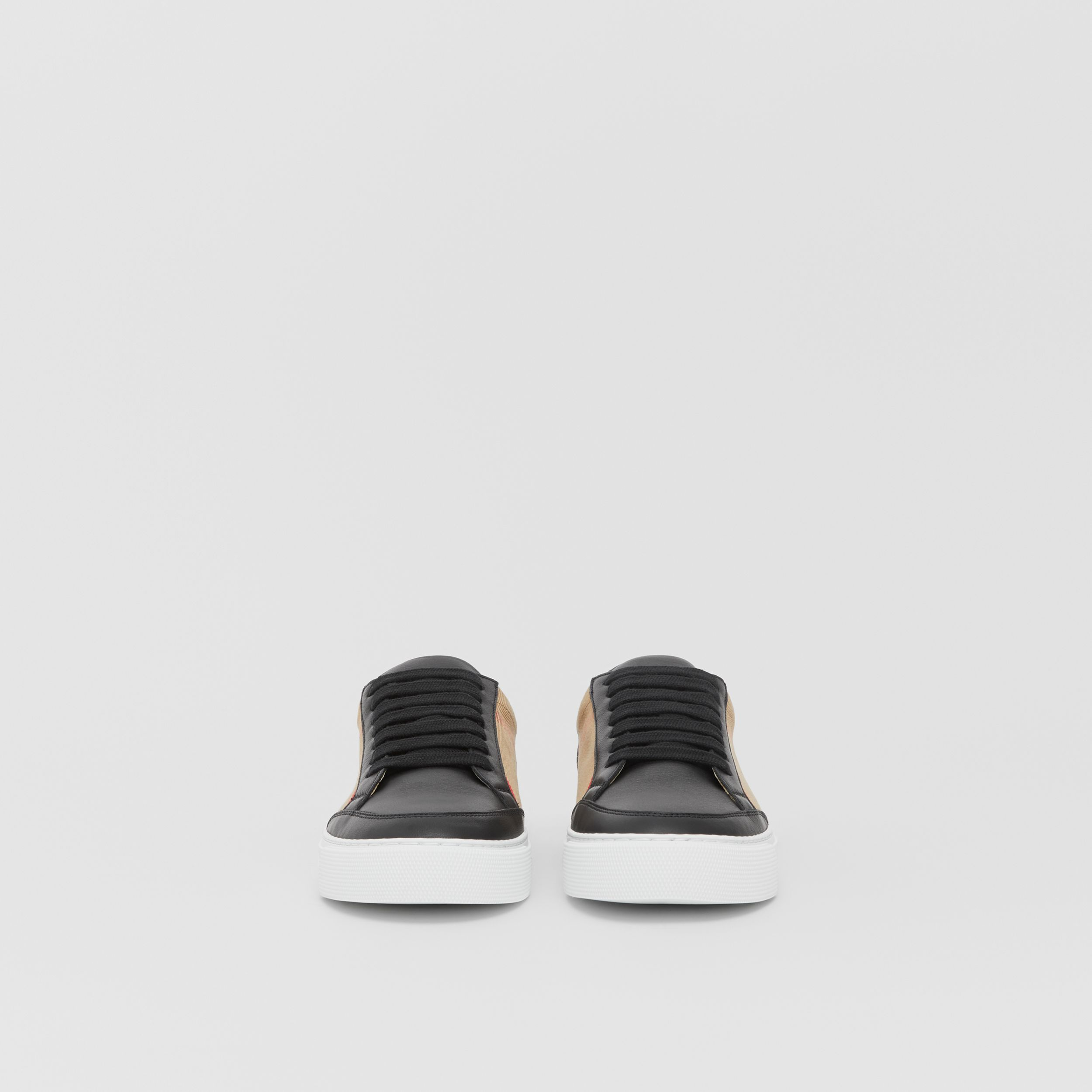 House Check and Leather Sneakers in Black - Women | Burberry - 4
