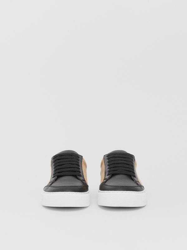 House Check and Leather Sneakers in Black - Women | Burberry United Kingdom - cell image 3