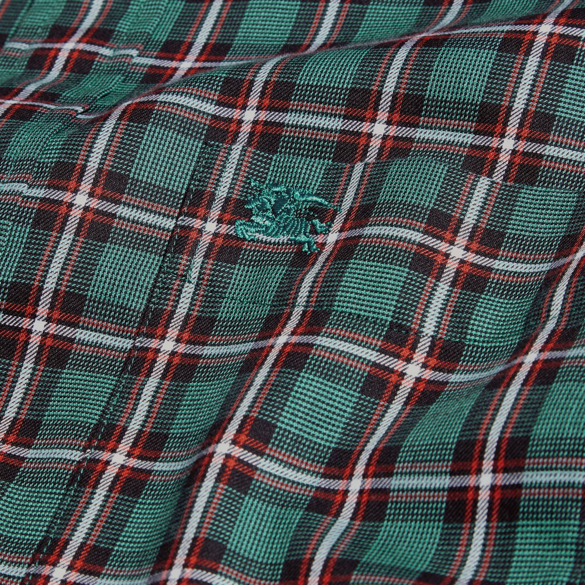 Dark teal green Tartan Cotton Twill Shirt Dark Teal Green - gallery image 2